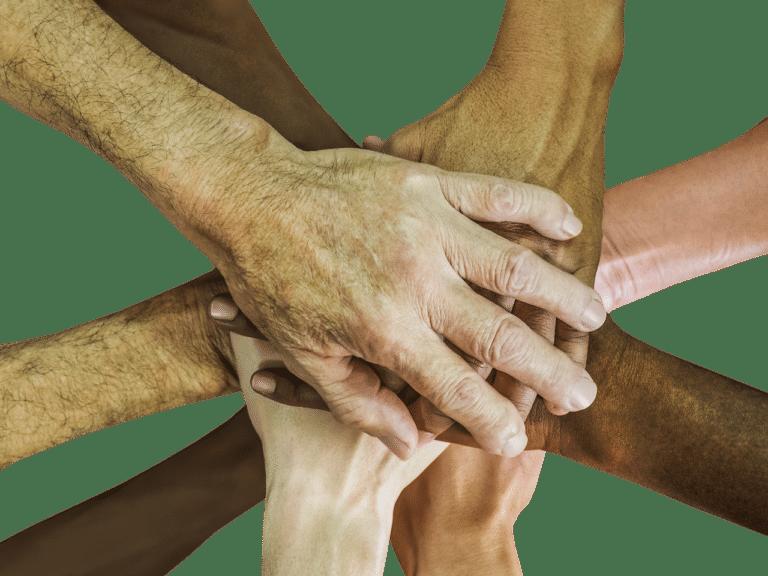 Solidariteit en diversiteit uitgebeeld met handen open source afbeelding
